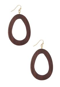 Wooden Oval Earrings