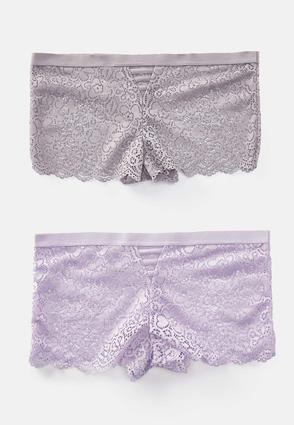 Lavender Lace Boy Short Panty Set