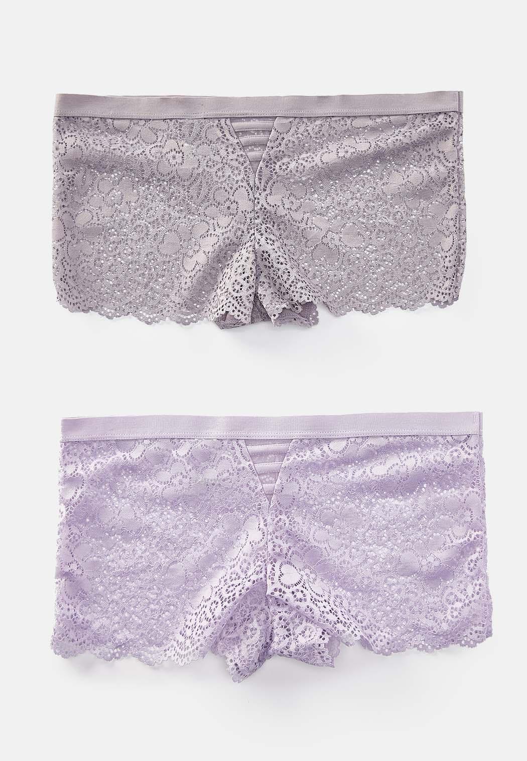 Plus Size Lavender Lace Boy Short Panty Set