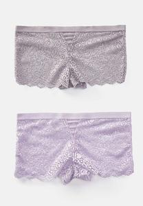 Plus Size Lavender Lace Boy Short Panty Set