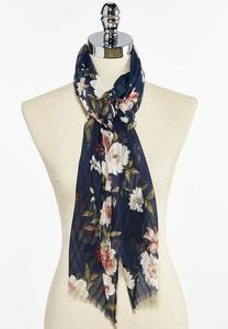 Navy Floral Oblong Scarf