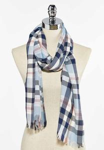 Practical Plaid Oblong Scarf
