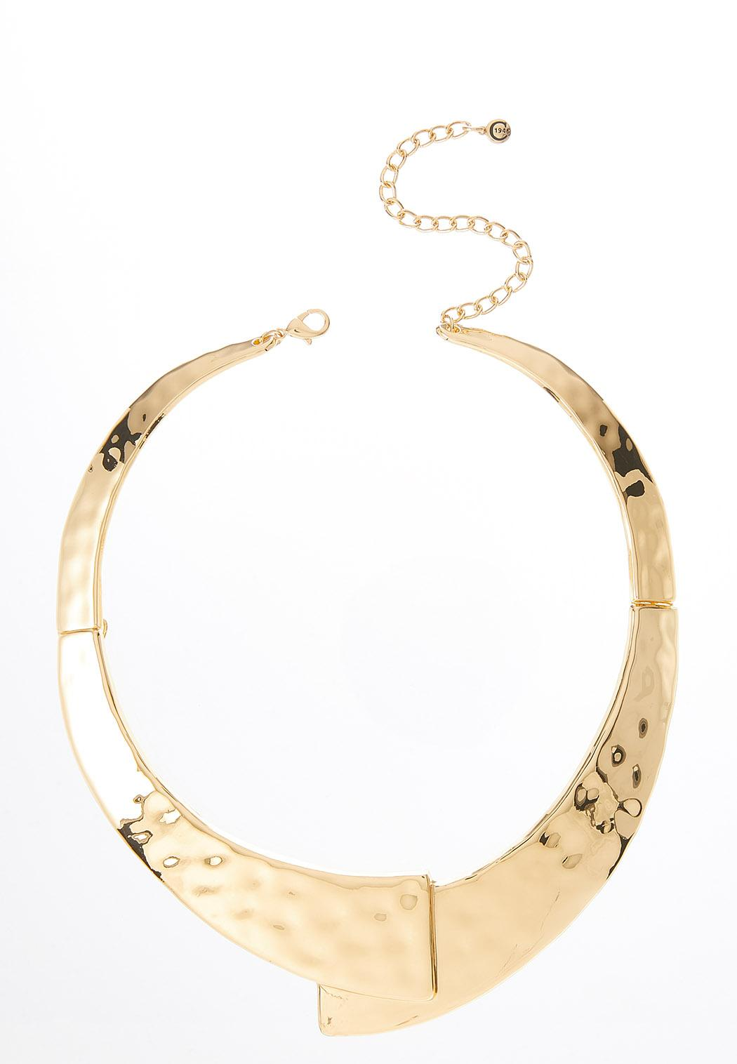 Hammered Gold Bib Necklace