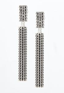 Antique Silver Bar Clip-On Earrings