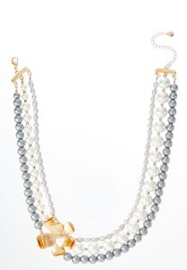 Golden Flower Pearl Necklace