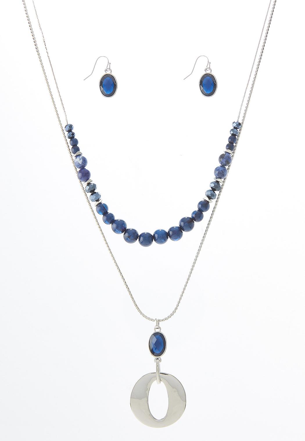 Layered Semi Precious Necklace Earring Set