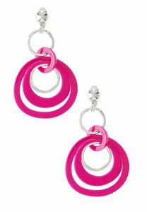 Fuchsia Link Clip-On Earrings
