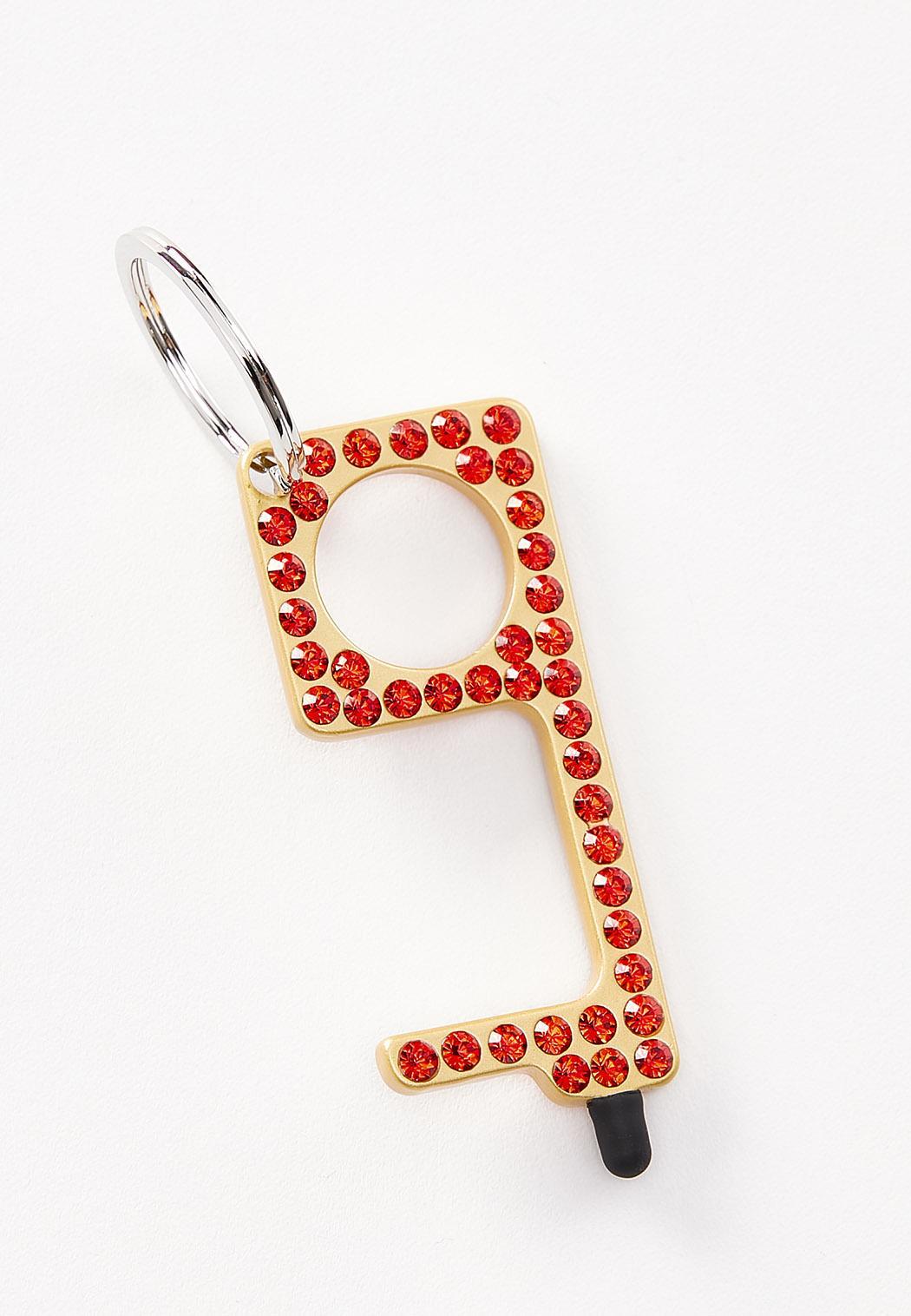Red Rhinestone Door Opener Key Chain