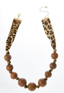 Wood Ball Leopard Band Necklace