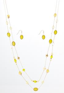 Gold Bead Illusion Necklace Earring Set
