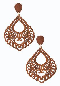Cutout Wood Clip-On Earrings