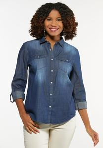 Plus Size Chambray Snap Button Shirt