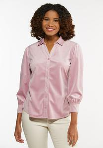 Pink Velvet Button Up Top