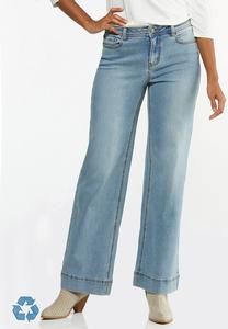 Petite Faded Wide Leg Jeans