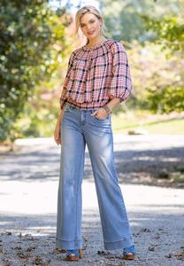 Plus Size Faded Wide Leg Jeans