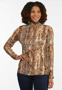 Plus Size A Wild Mix Mock Neck Top