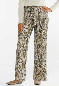 Petite Green Paisley Wide Leg Pants