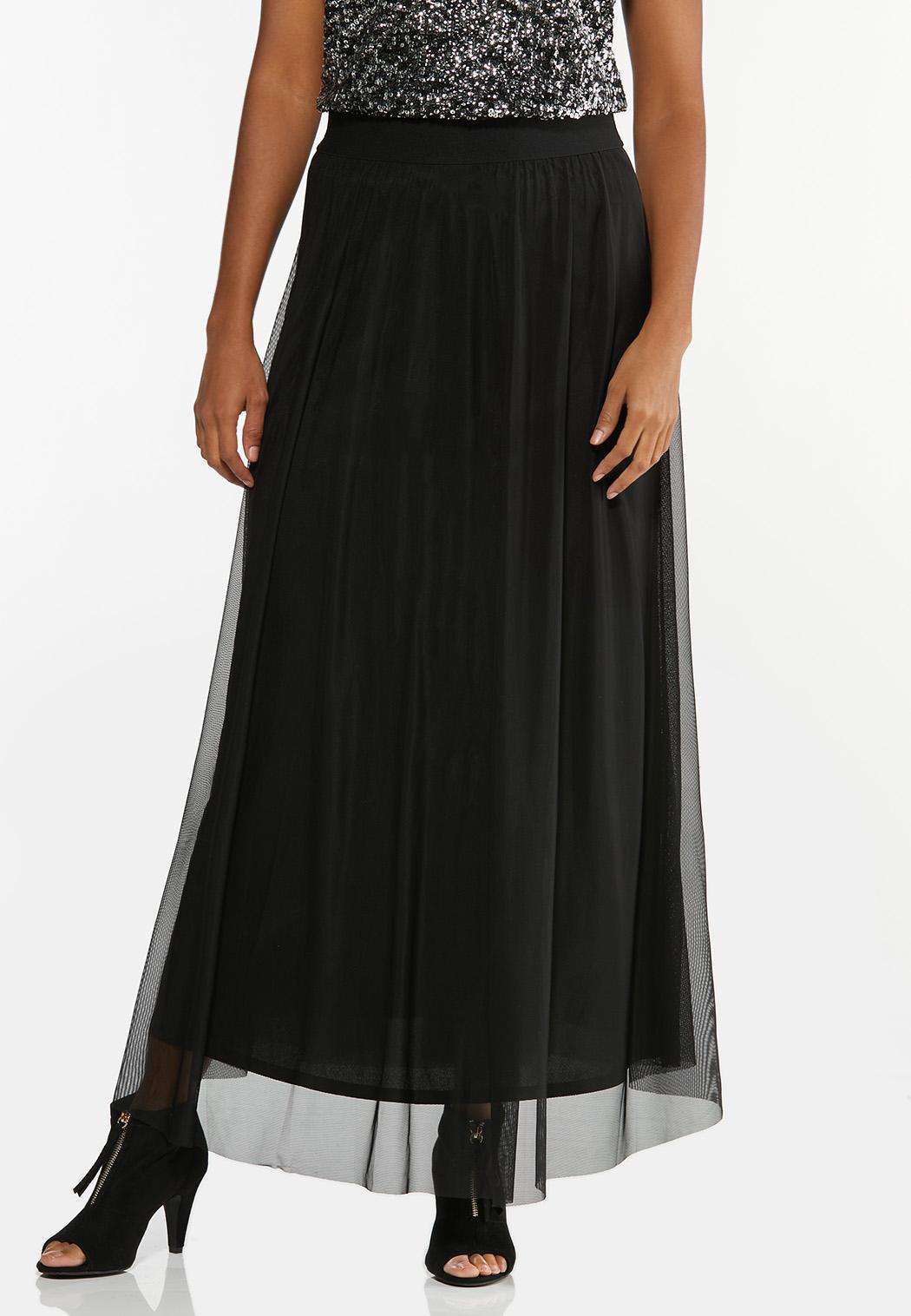 Lavender Mesh Maxi Skirt
