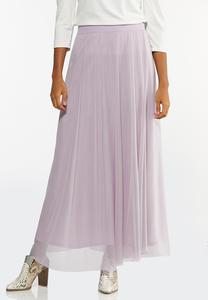 Petite Lavender Mesh Maxi Skirt