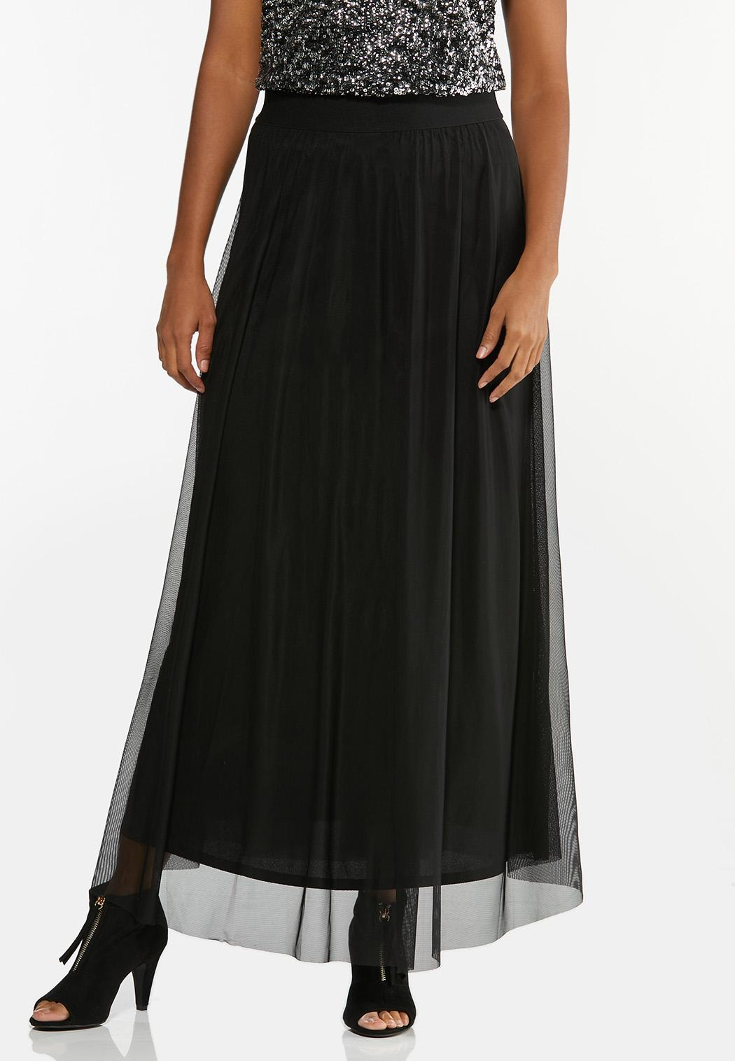 Plus Size Lavender Mesh Maxi Skirt