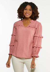Plus Size Rose Ruffled Trim Top