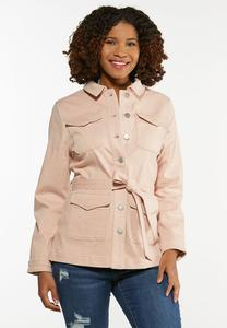 Plus Size Rose Denim Jacket