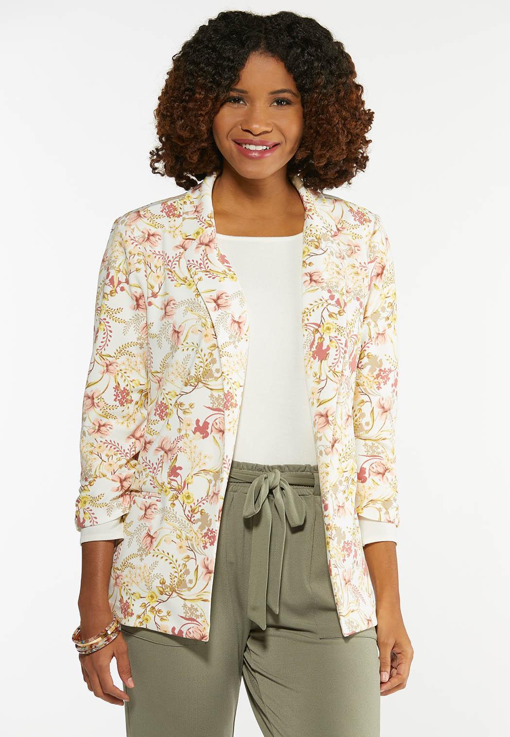 Plus Size Spring Floral Blazer