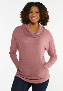 Plus Size Rose Cowl Neck Top