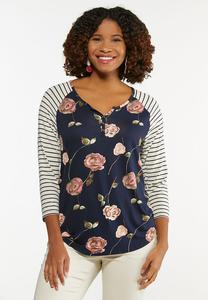 Plus Size Floral Striped Sleeve Top