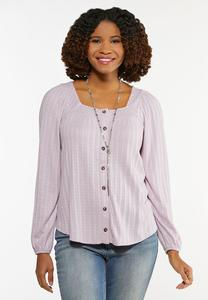 Lace Trim Button Front Top