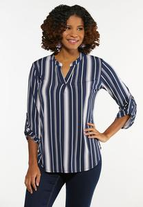 Plus Size Dressy Striped Top