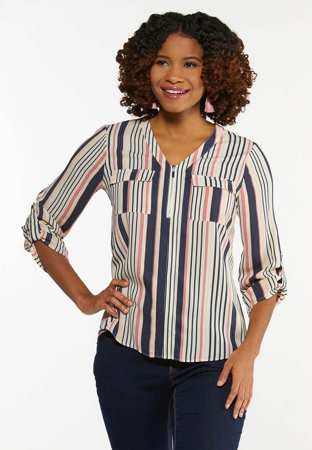 Plus Size Striped Zip Top