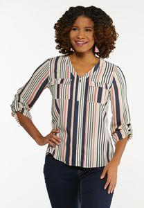 Plus Size Striped Zip Top