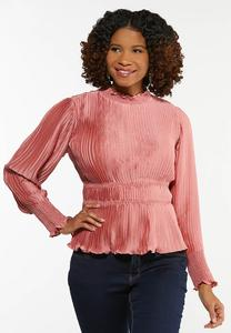 Plus Size Pleated Satin Rose Top