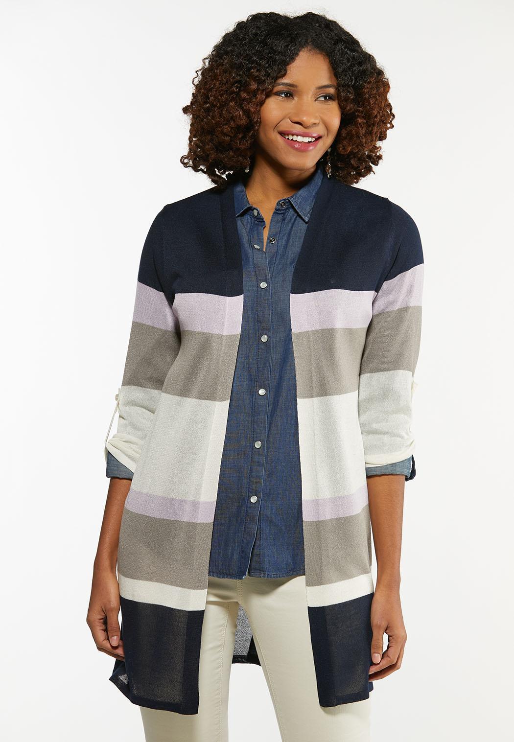 Plus Size Striped Sheer Cardigan