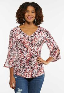 Plus Size Ruched Splattered Dot Top