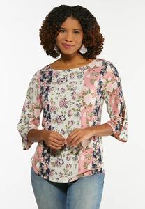 Plus Size Floral Cutout Sleeve Top