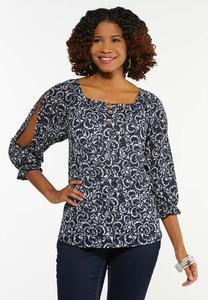 Plus Size Navy Cutout Sleeve Top