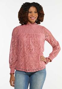 Blushing Lace Mock Neck Top