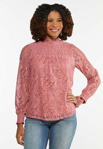 Plus Size Blushing Lace Mock Neck Top