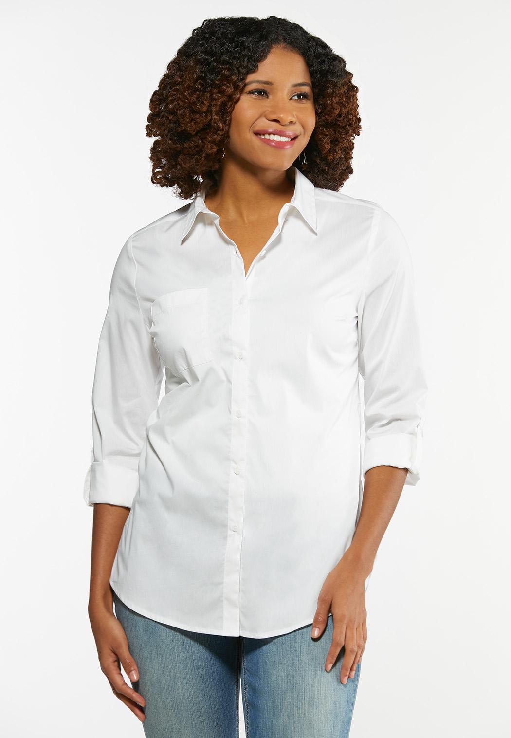 Plus Size White Button Down Tunic