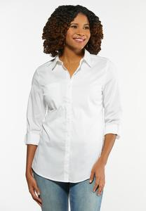 Plus Size White Button Down Tunic