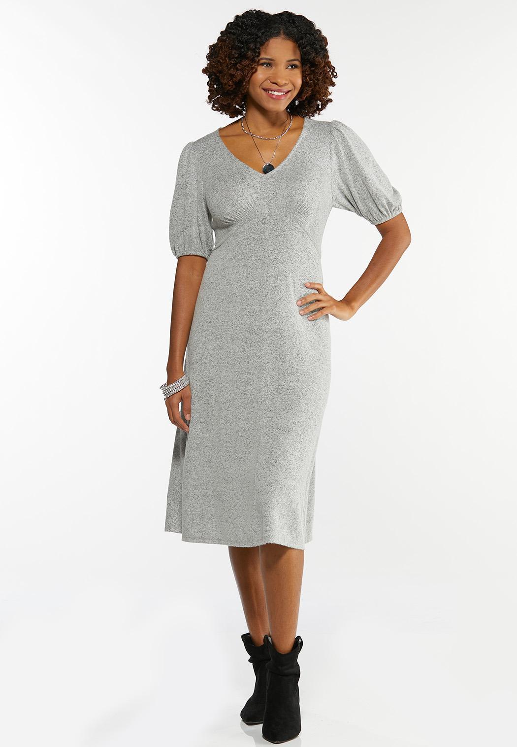 Gray Balloon Sleeve Dress