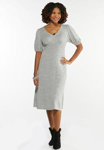 Gray Balloon Sleeve Dress