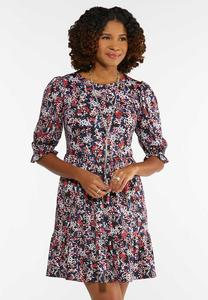 Tiered Navy Floral Dress