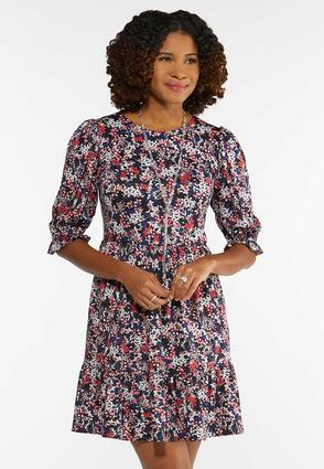 Plus Size Tiered Navy Floral Dress