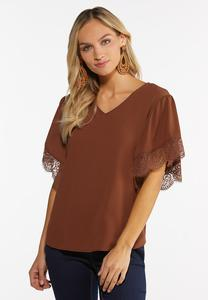 Plus Size Lacy Trim Top