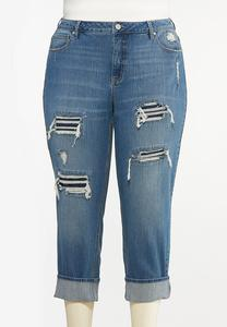 Plus Size Distressed Boyfriend Jeans