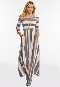 Mixed Stripe Maxi Dress