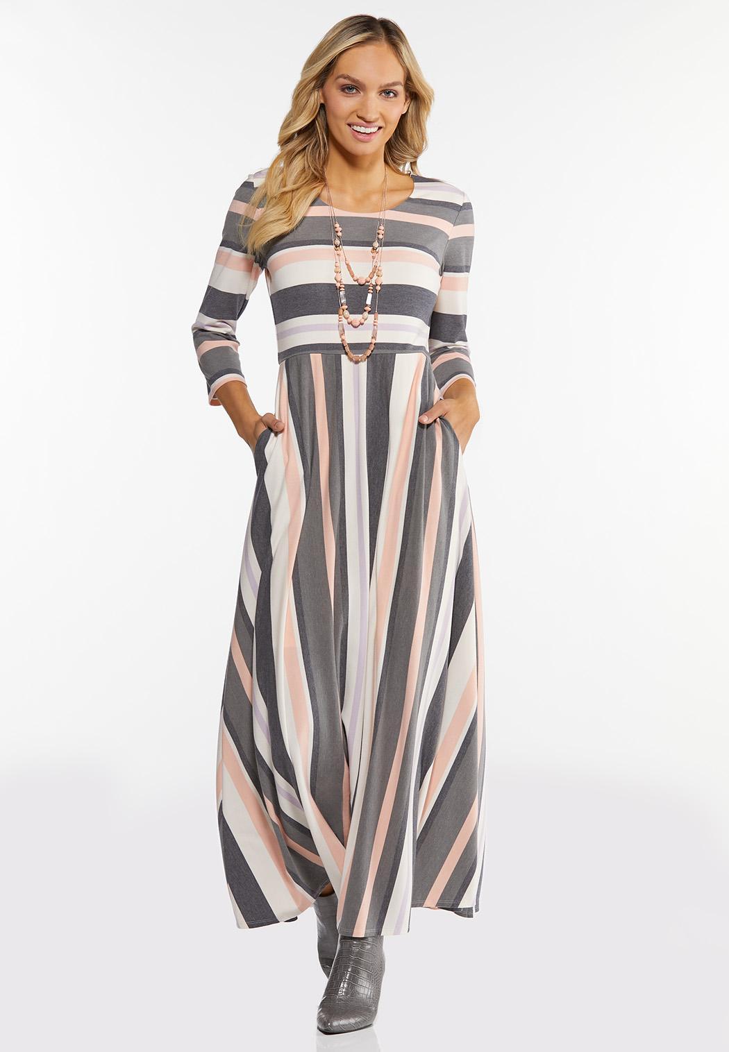 Petite Mixed Stripe Maxi Dress